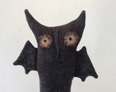 Whimsical handmade Halloween mixed media Folk Art Primitive bat art doll with vintage aged look