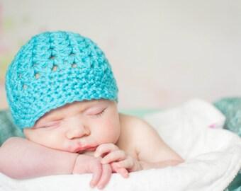 Newborn Girl Photo Prop, Baby Crochet Hat, Newborn Baby Girl Beanie, Newsboy Hat, Turquoise  Newborn Hat, MADE TO ORDER