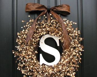 Personalized Wreaths - Wedding Wreaths - Berry Wreaths - Front Door - Sugar Cream Pie - Personalized Decor - Wooden Initials - Wedding Decor