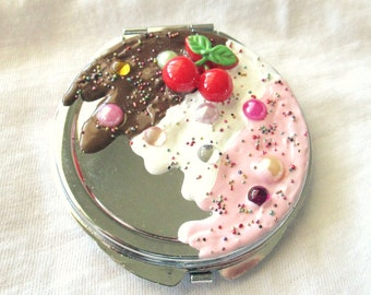 Sweet Neopolitan Ice Cream Decoden Compact Mirror