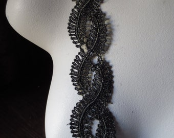 Black Gold Lace Trim for Appliques, Reenactment, Regency, Couture CL 5027