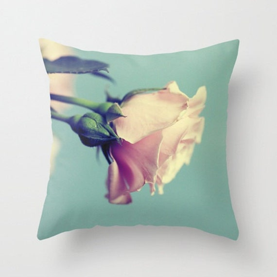 Items similar to Rose Decorative Pillow Cover, flower throw pillow cover, girly pastel couch ...