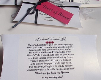 Signed with your name-Bridesmaid Survival Kit Pillow Box- All Handmade- Poem on box- Bridesmaid Tag- Items included