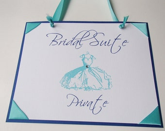 Private Bridal Suite Sign-Teal Blue- Navy- Choose a color scheme- Beach Wedding Theme-Wide ribbon-Embossed Dress with Crystals