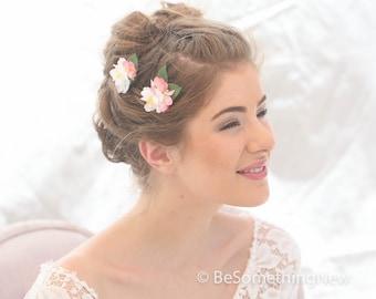 Blush and Pink Flower Bobby Pin Set, Wedding Hair Flowers, Plush Pink Flower Bobby Pins, Bridesmaids Hair Accessories, Wedding Hair, Spring
