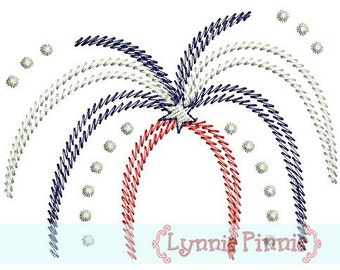 FIREWORKS FILLED Stitch 4x4 Machine Embroidery Design 4th of July Independence Day