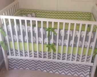 Crib Bedding Set Gray Lime Green Elephant