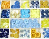 Assorted New & Vintage Plastic Button Sets in Shades of Blue, Yellow, Ochre, Navy