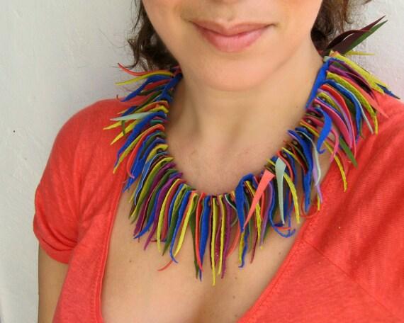 Boheme Multicolor Suede Fringe Collar Necklace - Boho Chic Style Statement Boheme Necklace