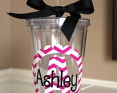 Personalized Acrylic Tumbler 16 oz with Chevron Initial and Name