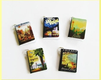 Travel Miniature Book Charms Set of all 5  Vintage Style USA Cities Las Vegas, Los Angelos, Chicago, San Francisco, Seattle