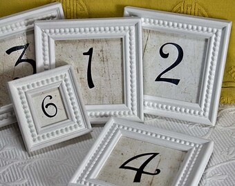 10 White 3x3 inch Framed Table Numbers for Weddings and Events