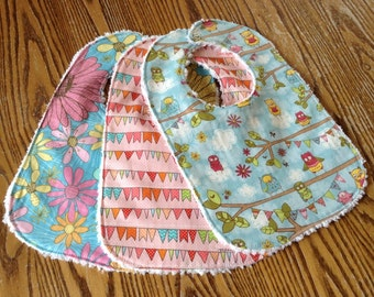 Bib Set for Baby Girl, Chenille Back, Owls, Flowers and Buntings