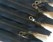 YKK Metal Teeth Zippers- 6 inch Black Antique Brass Donut Pull Color 580- 5 Pieces