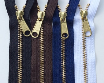 Metal Zippers-Brass Teeth 14 Inch Heavy Duty Ykk Zippers with a Long Purse Pull- 4 Piece Sampler Set Black, White, Navy Blue, Autumn Brown