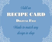 Recipe Card - Printable Digital File