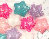 Pastel Star Charms - 25mm Cute Rounded Pastel Stars Stardust Resin Cabochons Charms or Pendants - 7 pc set