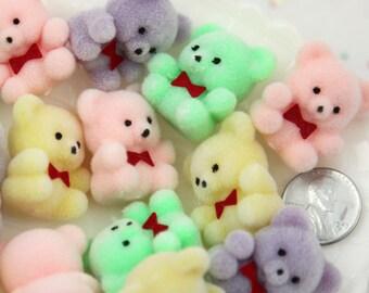 Flocked Bears - 27mm Pastel Flocked Mini Bear Colorful Little Miniature Fuzzy Soft Bears - 4 pc set