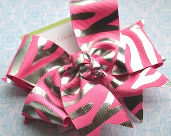 Hot Pink and Silver Zebra Print XL Diva Bow