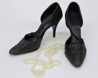 60's Pointy Toe Evening Shoes / Black Glitter Stilettos / Size 6 1/2 Narrow