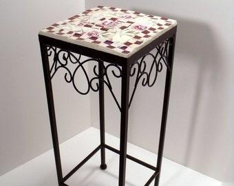 Mosaic Patio Table / Plant Stand Burgandy and Cream Checks