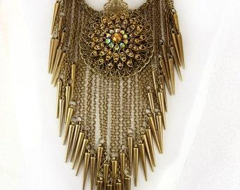 Bohemian necklace Rhinestones and tassels statement choker
