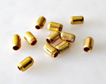 Gold Vermeil Beveled Tube Beads 3.9x2.4mm, Hill Tribe Silver Beads, Handmade, (10 beads) LOT 220