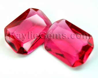 Glass Jewel 18x25mm Octagon Pointed Back, Unfoiled, Faceted Diamond Cut - Rose Pink BR142