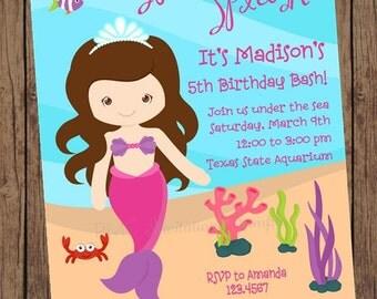 Brunette or Blonde Mermaid Birthday Invitations - 1.00 each with envelope