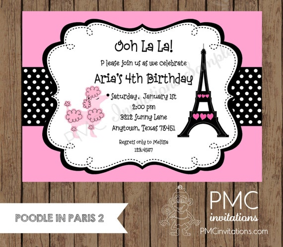 Custom printed pink paris poodle themed birthday party invitations il570xn filmwisefo Gallery