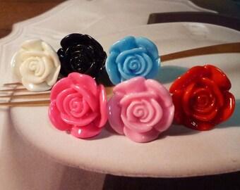 SALE - Solid Color Flower Stud Earrings