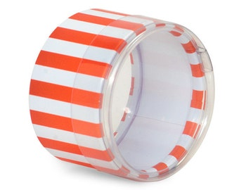 6 Mini Round Stripes Favor Boxes in Orange