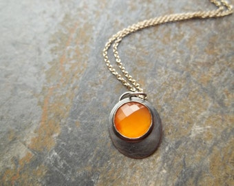 Orange Carnelian and Oxidized Sterling Silver Necklace