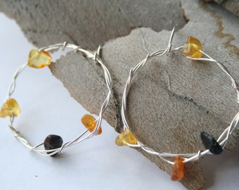Big Amber Hoop Earrings, Dangle Sterling Silver Circle Hoops with Baltic Amber, Bohemian light Hoops