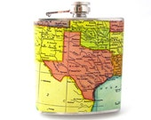 Texas Map Flask. Antique Map of Texas on 6 oz Stainless Steel Flask.