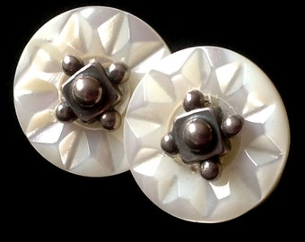 Button Post Earrings - vintage Carved Mother of Pearl Buttons Sterling Silver Posts