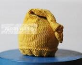 Newborn Knit Hat Elf Nightcap Baby with Knotted Tassel Mustard Gold Yellow Cotton