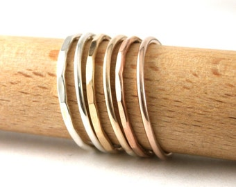 Custom Stack Rings, Set Of 2 Stack Rings, Sterling Silver Stack Rings, Rose Gold Filled Stack Rings, Gold Filled Stack Band Rings, Set Of 2