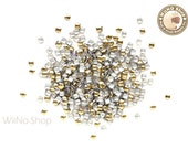 2mm Mini Gold Square Metal Studs Flat Back Nail Art - 100 pcs