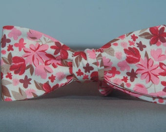 Pink, Red and Brown Floral  Bow Tie
