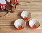Lil Bowls / Ramekins - Set of 3 in Orange Houses