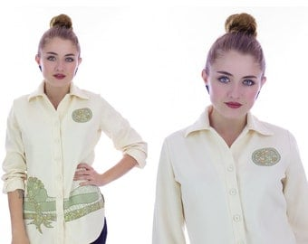 70s Hippie Blouse Mod Shirt Top 1970s Boho Vintage Cute Calico Animals Trees Nature Retro Jantzen Small S Medium M