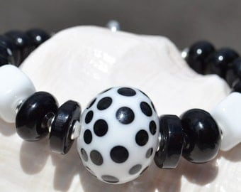 DALMATION-Handmade Lampwork and Sterling Silver Bracelet