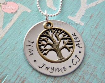 Personalized Hand Stamped Family Tree Heirloom Necklace with Bronze Tree of Life Charm