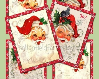 Retro Santa Tags Digital Sheet C-502  for Cards, Tags, Scrapbooking, Decoupage, Iron ons