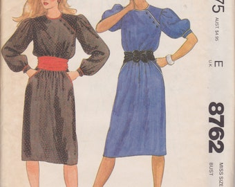 McCall's 8762 Misses' Asymmetrical Dress and Cummerbund Size 10 Vintage UNCUT Pattern Rare and OOP