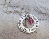 Mommy  To Be Necklace - Sterling Silver with Birthstone and Baby Feet For This Child I Have Prayed