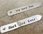 Dad Gift 4 Him Personalized Collar Stays - Set of Two - Sterling Silver  -Fathers Day - Grandpa -  Men's Gift- Dad -Customized