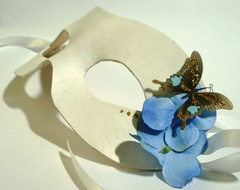 White Leather Mask with Butterfly and Flower Accents