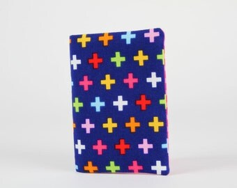 Fabric card holder - Remix crosses in navy / Colorful crosses / pink green orange red blue yellow / rainbow / Ann Kelle / summer colors
